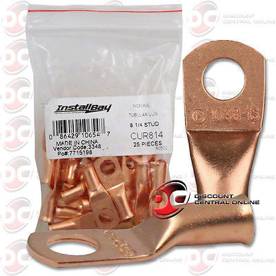"INSTALL BAY CUR814 8 GAUGE 1/4"" COPPER RING TERMINALS CUR814 25 PCS COUNT"