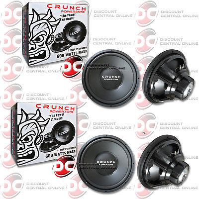 "2 x CRUNCH PZ12D4 12"" DUAL 4 OHM CAR AUDIO SUBWOOFER PZ12D4 300W RMS (POWERZONE SERIES)"