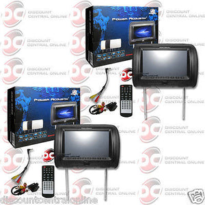 "2 x POWER ACOUSTIK HDVD-91CC 9"" LCD HEADREST MONITORS W/ FM  IR TRANSMITTER"