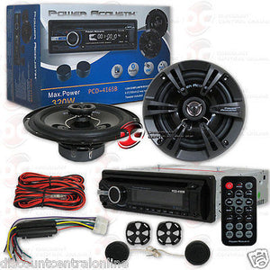 "CAR PACKAGE DEAL SINGLE DIN STEREO CD BLUETOOTH W/ 6.5"" 2-WAY COMPONENT SPEAKERS"