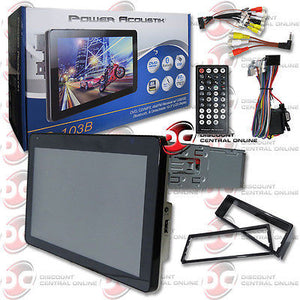 "2014 POWER ACOUSTIK 1DIN 10.3"" TOUCHSCREEN LCD DVD CD PLAYER BLUETOOTH + REMOTE"