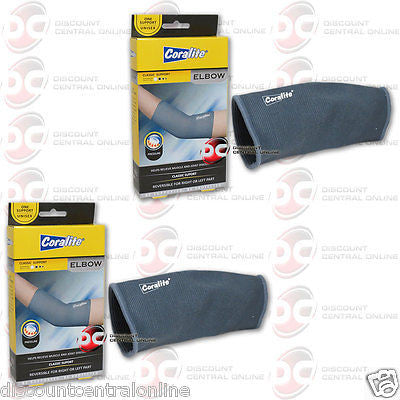 2 X CORALITE REVERSIBLE ELBOW SUPPORT PROVIDES COMPRESSION INJURED WEAK ELBOWS