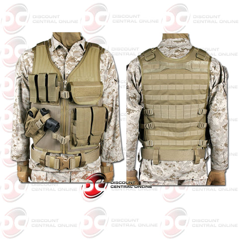 Blackhawk 30EV26DE-I Omega Elite Cross Draw/Pistol Mag Vest in Desert Tan Color (Left Hand)