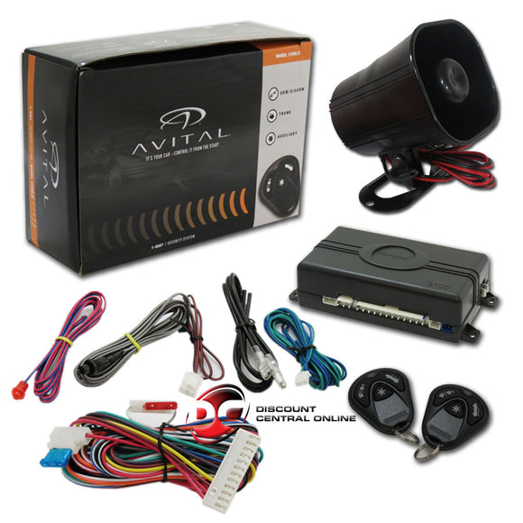 Avital 3100LX 3-Channel Car Alarm System W/ 2 Remotes, Keyless Entry And Horn