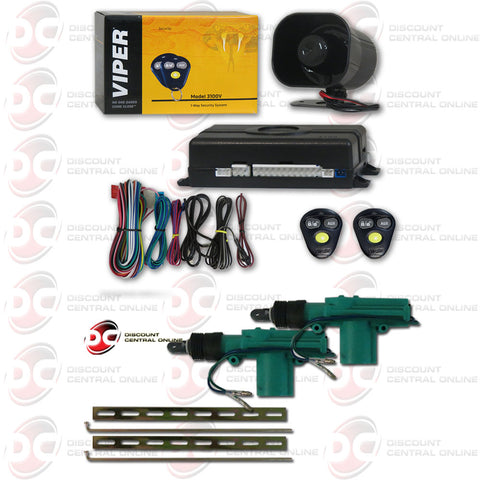 Viper 3100V 1-Way Car Alarm With Keyless Entry Plus Pair Of 2-wire Door Actuator