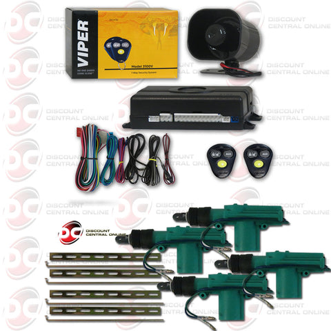 Viper 3100V 1-Way Car Alarm With Keyless Entry Plus 4x Car 2-wire Door Actuator
