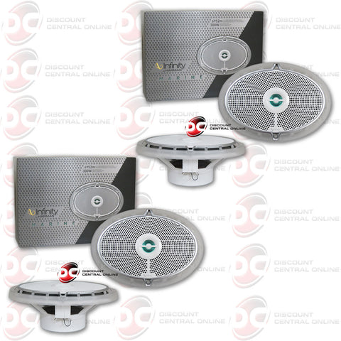 "2 X INFINITY 6952M 300W PEAK (150W RMS) 6X9"" 2-WAY COAXIAL MARINE SPEAKERS"