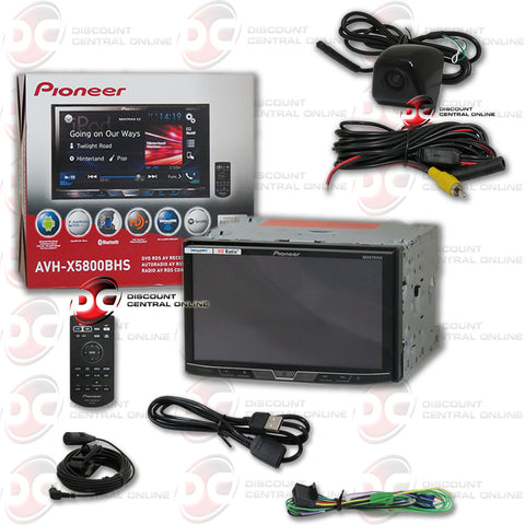 "Pioneer AVH-X5800BHS Double DIN Bluetooth In-Dash DVD/CD/AM/FM Car Stereo with 7"" Touchscreen Display, Dual Camera Input and Built-in HD Radio and Car Universal HD Rear View Back-Up Keyhole Camera (Black)"
