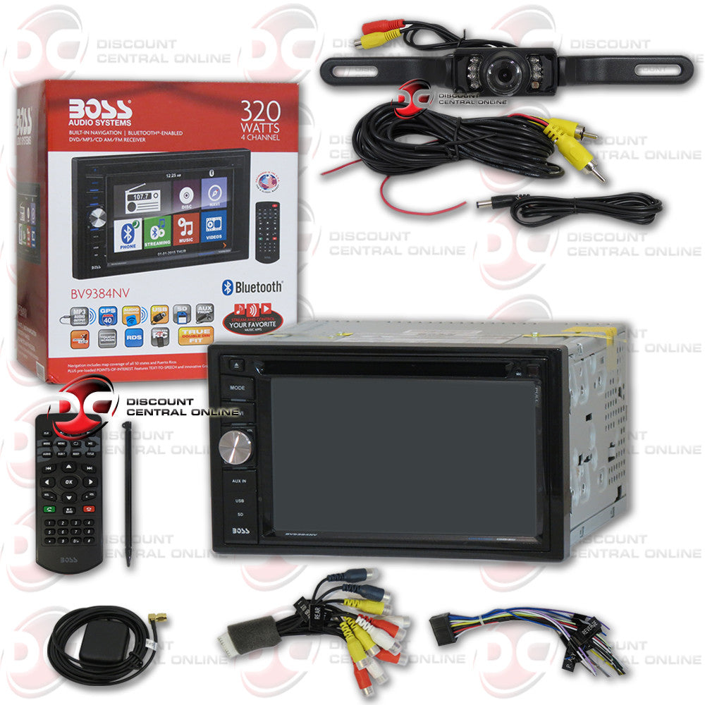 "Boss BV9384NV Double-Din DVD Player 6.2"" Touchscreen With Navigation And Bluetooth & ""Free"" Black License Plate Camera"