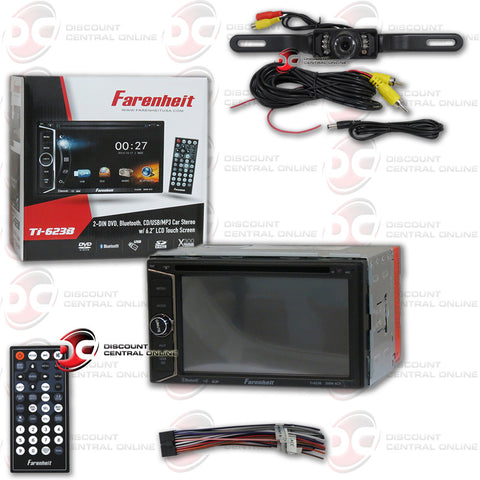 "Farenheit TI-623B 2 Din In-Dash 6.2"" Car Monitor DVD/SD/USB Bluetooth Receiver + Black License Plate Camera"