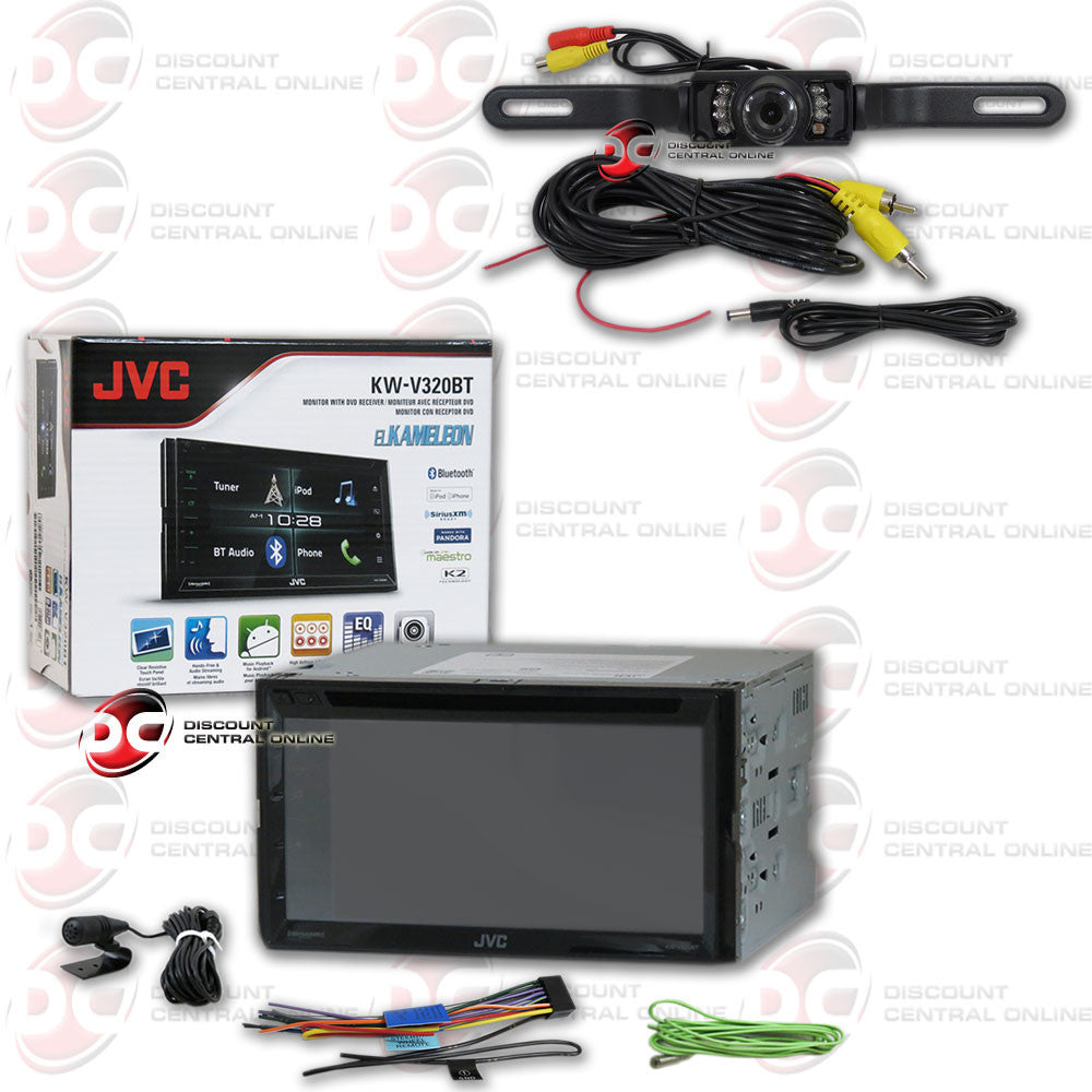 "JVC El Kamelon KW-V320BT Arsenal Series 6.8"" Double DIN Bluetooth In-Dash CD Car Stereo with SiriusXM and iDataLink Maestro + Black License Plate Camera"