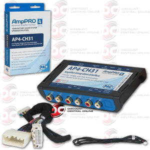 PAC AMPPRO AP4-CH31 AMPLIFIER REPLACEMENT INTERFACE AND T-HARNESS FOR SELECT 2010-UP CHRYSLER AND DODGE VEHICLES WITH A PREMIUM SOUND SYSTEM