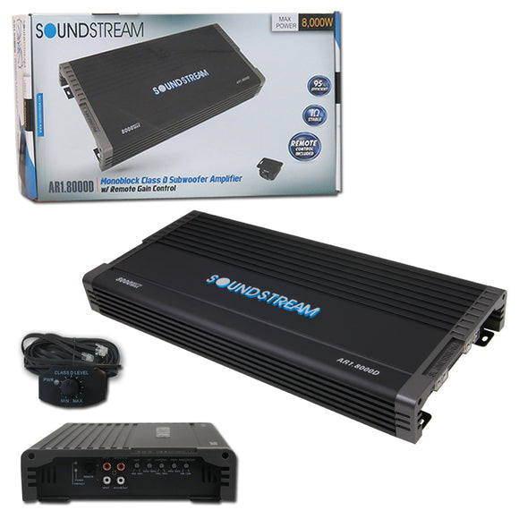 SOUNDSTREAM AR1.8000D (4000W RMS)1-CHANNEL CLASS D MONOBLOCK CAR AMPLIFIER (ARACHNID SERIES)