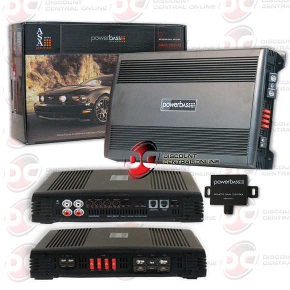 POWERBASS ASA3-1500.1D CAR AUDIO MONO BLOCK 1-CHANNEL AMP AMPLIFIER 1000 RMS
