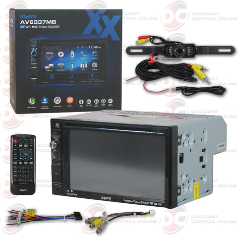 "Axxera AV6337MB 2DIN 6.2"" Car DVD CD Receiver Dual Mirror with Bluetooth (with Back-up Camera)"