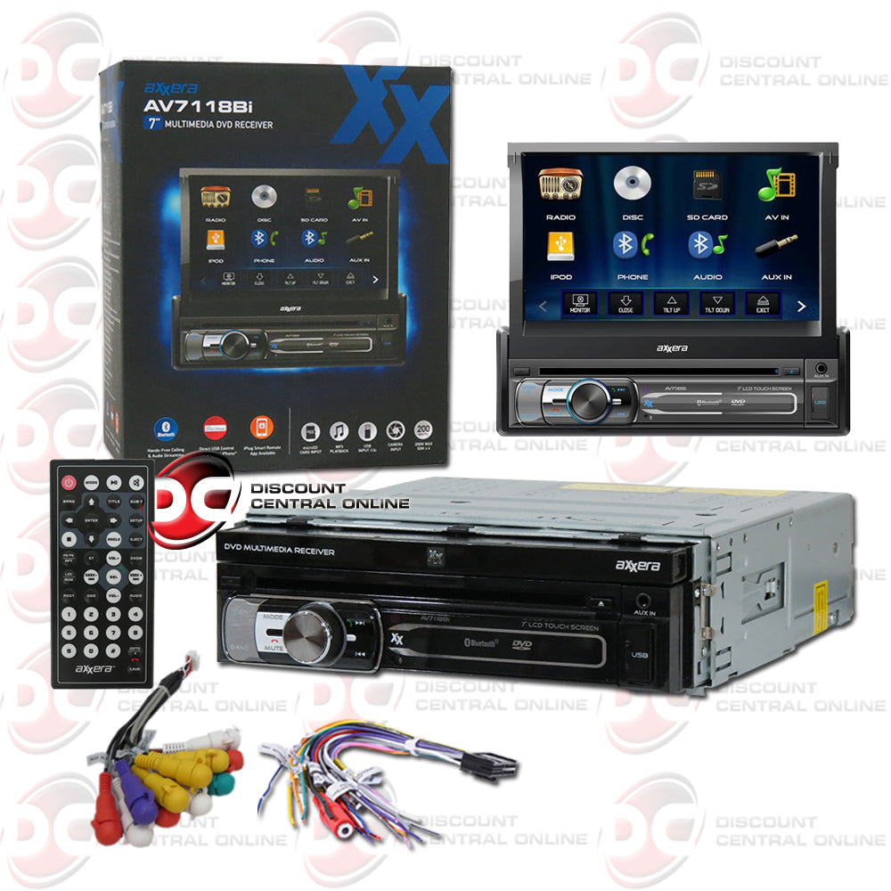 "Axxera AV7118Bi 1-Din 7"" Car CD/DVD With Bluetooth"