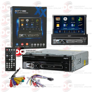 "Axxera AV7118Bi 1-DIN 7"" Motorized CD DVD Car Stereo With Bluetooth"