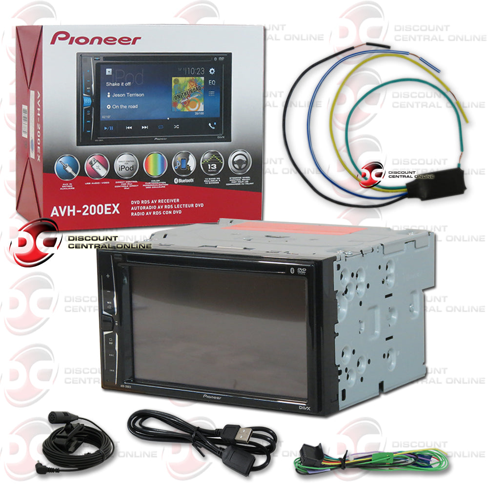 "Pioneer 2DIN AVH-200EX 6.2"" Car DVD CD Receiver with Bluetooth + Bypass Parking Brake"