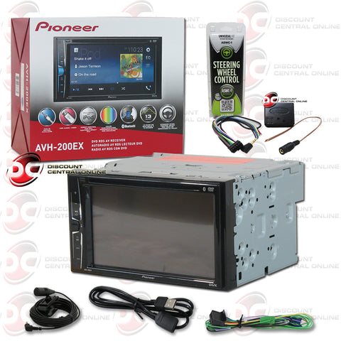 "PIONEER AVH-200EX 6.2"" CAR AUDIO MULTIMEDIA RECEIVER WITH AM/FM/CD/DVD/AUX WITH BLUETOOTH CAPABILITY PLUS ASWC-1 METRA UNIVERSAL OEM STEERING WHEEL CONTROL INTERFACE MODULE"