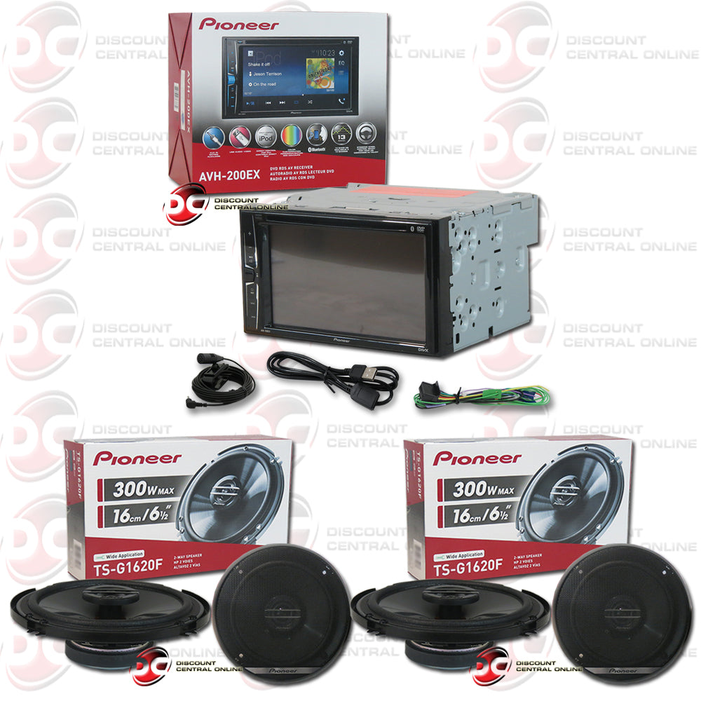 "Pioneer 2DIN AVH-200EX 6.2"" Car DVD CD Receiver with Bluetooth + 4 x TS-G1620F 6.5"" 2-way Coaxial Speakers"