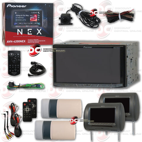 "PIONEER AVH-4201NEX 7"" TOUCHSCREEN MULTIMEDIA RECEIVER WITH DVD/AM/FM/AUX/BLUETOOTH CAPABILITY AND PIONEER REAR VIEW CAMERA WITH 2 X SAVV LM-U7070H-HR 7"" MOBILE LINK HEADREST PILLOW MONITOR"