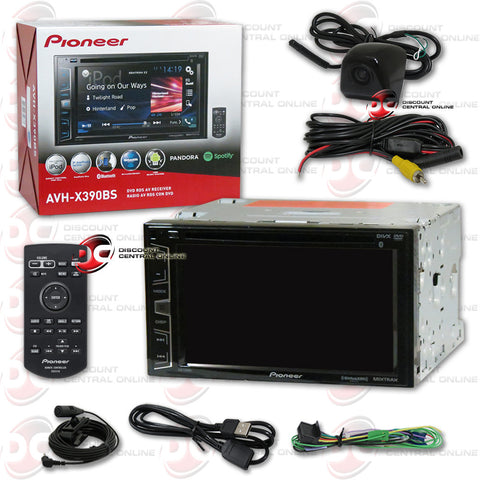 "Pioneer AVH-X390BS 6.2"" Multimedia Receiver with AM/FM/CD/DVD/Bluetooth/SiriusXM-Ready Compatability and Universal HD Rear View Back-Up Camera (Black)"