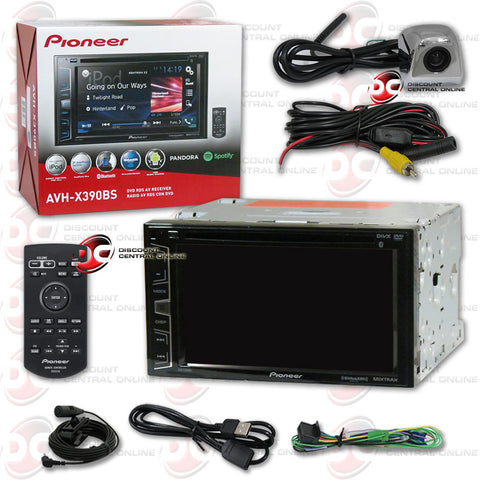 "Pioneer AVH-X390BS 6.2"" Multimedia Receiver with AM/FM/CD/DVD/Bluetooth/SiriusXM-Ready Compatability and Universal HD Rear View Back-Up Camera (Chrome)"