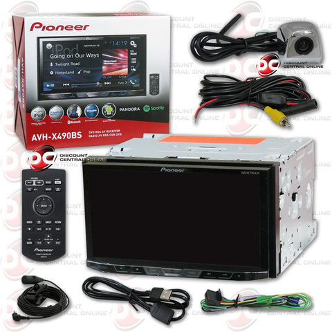 "Pioneer AVH-X490BS 2DIN 7"" CD DVD Receiver with Bluetooth & SiriusXM-Ready and Universal HD Rear View Back-Up Camera (Chrome)"