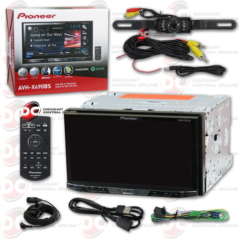"Pioneer AVH-X490BS 2DIN 7"" CD DVD Receiver with Bluetooth & SiriusXM-Ready and Black License Plate Camera"