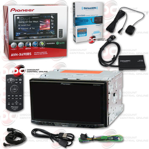 "Pioneer AVH-X490BS 2DIN 7"" CD DVD Receiver with Bluetooth and Sirius XM Connect SXV300V1 Tuner for Satellite Radio"