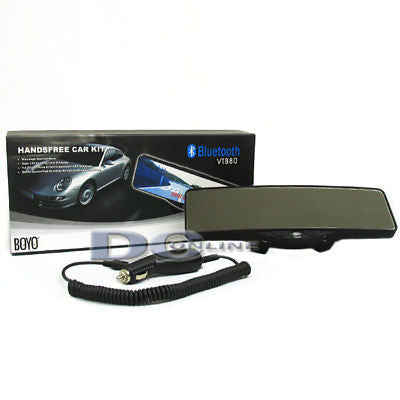 BOYO VTB80 Wide Angle Rearview Mirror With Bluetooth