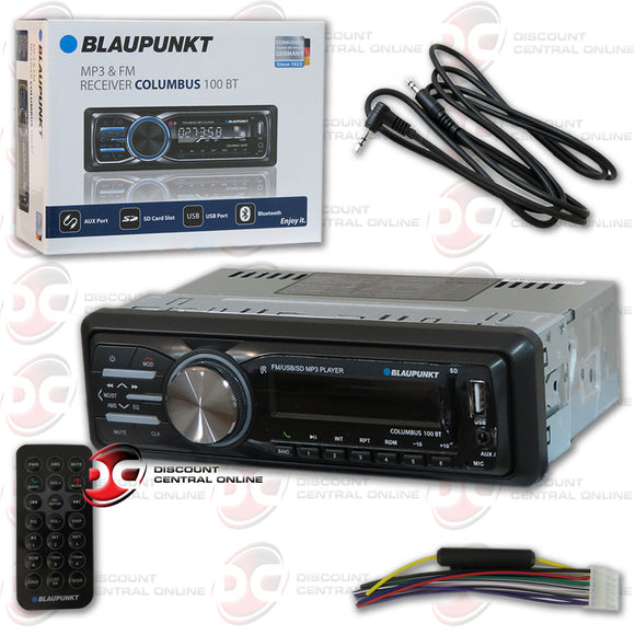 Blaupunkt Columbus100bt 1-DIN Car AUX/USB/SD/FM Receiver with Bluetooth + Free Aux Cord Included