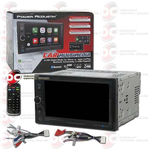 "Power Acoustik CP-650 2-D 2-Din 6.5"" Car Digital Media Receiver with Bluetooth"