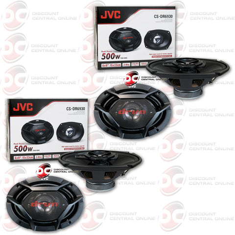 "4x JVC CS-DR6930 500W Peak (70W RMS) 6x9"" 3-Way Factory Upgrade Coaxial Speakers"