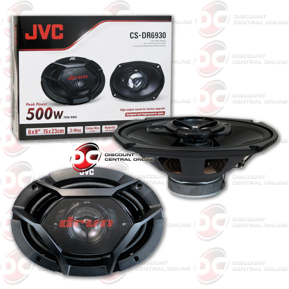 "JVC CS-DR6930 500W Peak (70W RMS) 6x9"" 3-Way Factory Upgrade Coaxial Speakers"