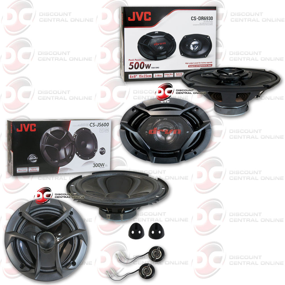 "JVC CS-JS600 2-way Component Speaker System 300 watts and JVC CS-DR6930 500W Peak (70W RMS) 6x9"" 3-Way Factory Upgrade Coaxial Speakers"