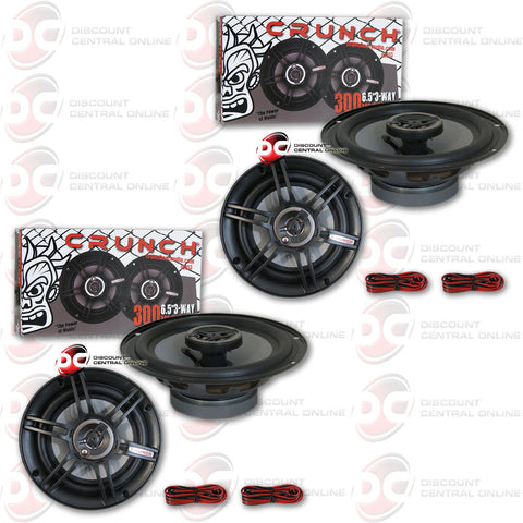 "CRUNCH CS653 6.5-INCH 6.5"" 3-WAY CAR AUDIO COAXIAL SPEAKERS (2 PAIRS)"