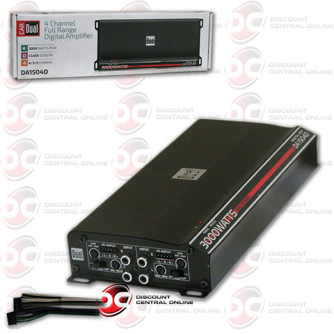 DUAL DA1504D 3000 Watt 4 Channel Class D Car Amplifier