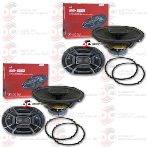 "4 x  Polk Audio DB692 6x9"" Car Audio Coaxial Speakers"