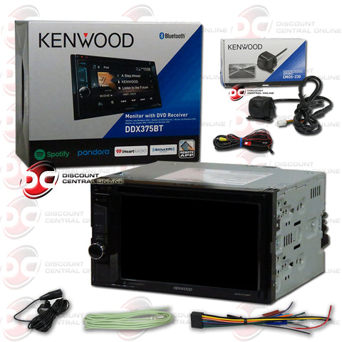 "Kenwood 2Din DDX375BT 6.2"" Car CD/DVD Receiver with Bluetooth Plus CMOS-230 Back-up Camera"