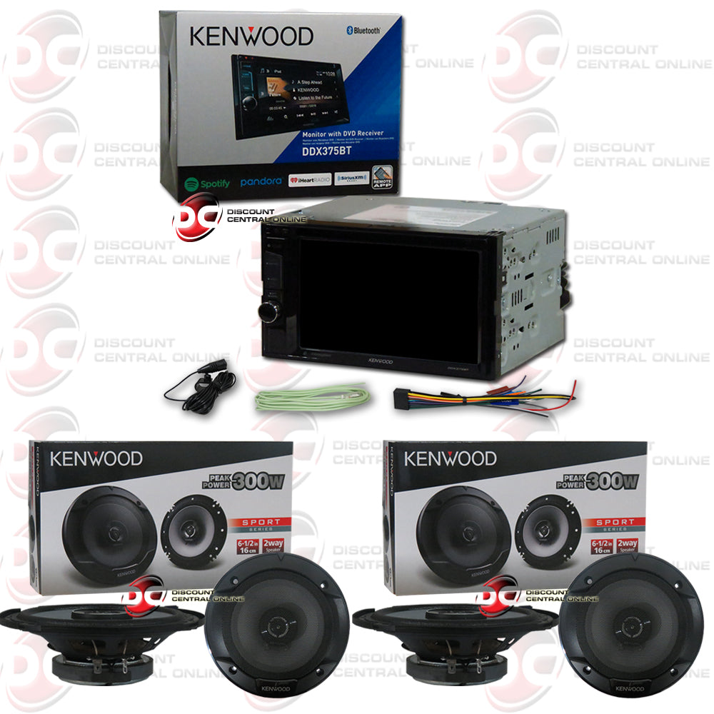 "Kenwood 2-Din DDX375BT 6.2"" Car CD/DVD Receiver with Bluetooth Plus 4 x 6.5"" Speakers"