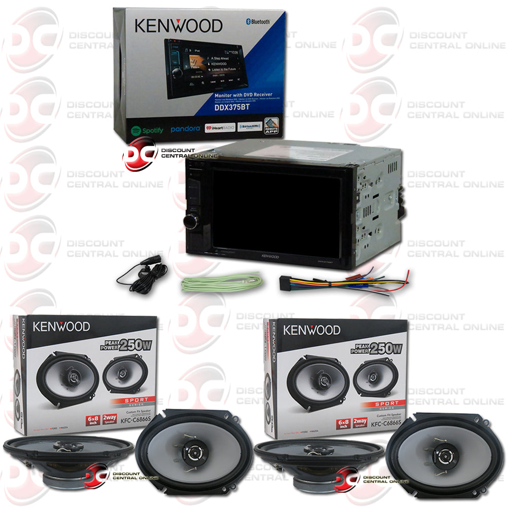 "Kenwood 2Din DDX375BT 6.2"" Car CD/DVD Receiver with Bluetooth Plus 4x 6x8"" Speakers"