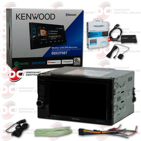 "Kenwood 2Din DDX375BT 6.2"" Car CD/DVD Receiver with Bluetooth Plus Sirius XM Turner"