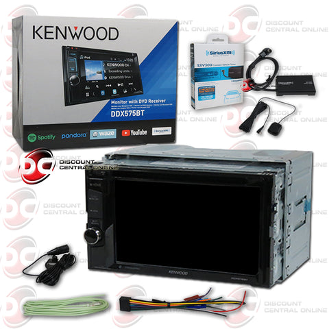 "Kenwood 2Din DDX575BT 6.2"" Car CD/DVD Receiver W/ Bluetooth & Weblink Plus Sirius XM Connect SXV300V1 Tuner For Satellite Radio"