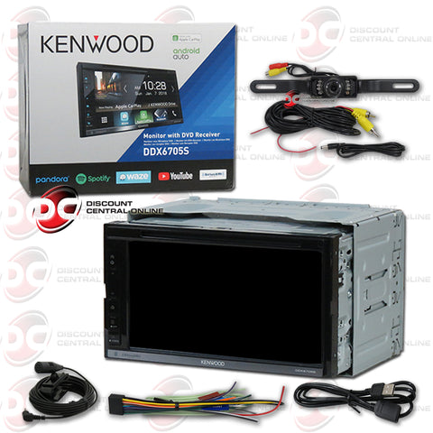 "Kenwood DDX6705S 2-Din 6.8"" Car AM/FM/CD/DVD With Bluetooth and Android/Apple Carplay (With Backup Camera)"