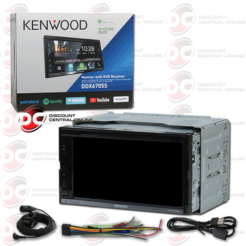 "Kenwood DDX6705S 2-Din 6.8"" Car AM/FM/CD/DVD With Bluetooth and Android/Apple Carplay"