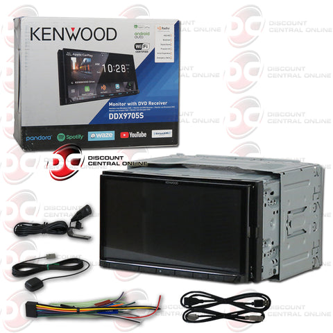 "Kenwood DDX9705S 2-Din 6.95"" Car AM/FM/CD/DVD Receiver With Bluetooth and Android/Apple Carplay"