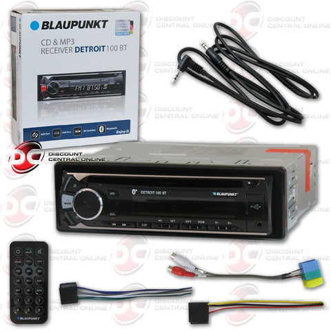 BLAUPUNKT DETROIT 100BT SINGLE DIN CAR AUDIO STEREO WITH CD/AM/FM/MP3/AUX/BLUETOOTH COMPATIBILITY + FREE AUX CHORD INCLUDED