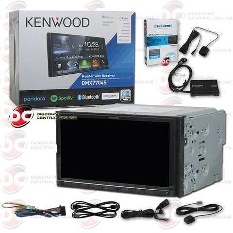 Kenwood DMX7704S 2-Din Car Digital Media Receiver With Bluetooth Plus Sirius XM Connect SXV300V1 Tuner for Satellite Radio