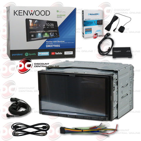 "Kenwood DMX7705S 2-Din 6.95"" Car Digital Media Receiver With Bluetooth and Android/Apple Carplay Stereo Plus Sirius XM Connect SXV300V1 Tuner For Satellite Radio"